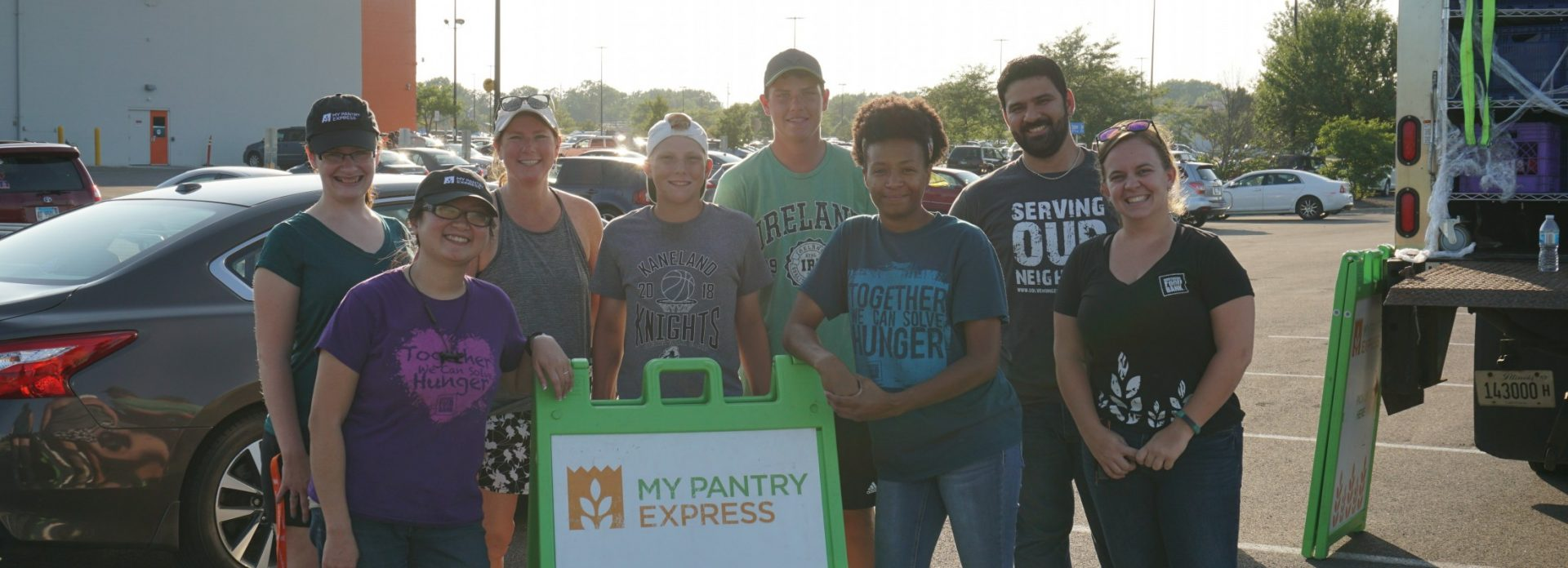 Volunteers and staff at a My Pantry Express distribution